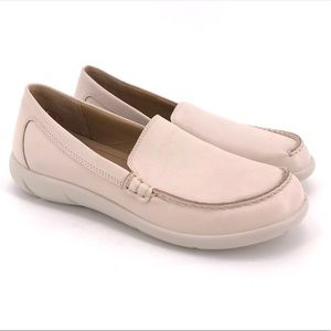HOTTER RETRO PALE PINK LEATHER HAND SEWN LOAFER